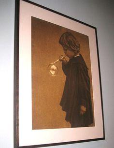 Heinrich Kühn  German, 1866-1944  Child Blowing a Soap Bubble  c. 1910  Bromoil transfer print. (Jill Krementz photograph of MoMA display)