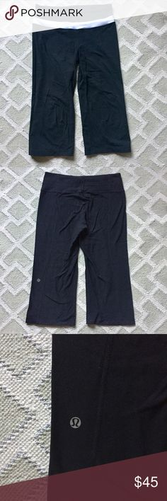 """Lululemon Groove crops These """"Groove"""" crops from Lulu are super comfy and as great for a spin class as they are for a casual stroll around town. They're REVERSIBLE too! They are fitted through the thigh, hit below the knee and fall straight from there. Gently used, in good condition. lululemon athletica Pants Leggings"""