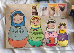 mail art - I wished I'd taken a photo of the kokeshi dolls mail art I did for my mum last week!