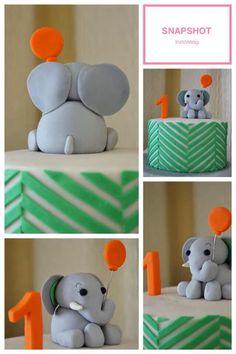 Chevron + kid birthday cake