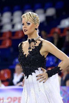 black and white modern dress - Christin Ballroom Hair, Latin Ballroom Dresses, Ballroom Dancing, Latin Dresses, Dance Competition Hair, Dance Pictures, Dance Outfits, Bun Hairstyles, Dance Costumes