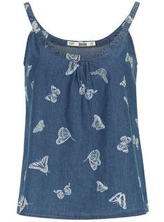 Caraco en jean à imprimé papillon - Hauts et Chemises - Vêtements