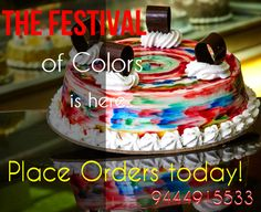 Send HOLI ‪#‎gifts‬ today! Let the colors of ‪#‎HOLI‬ spread the message of Peace and Happiness. HAPPY HOLI TO ALL. ‪#‎rainbow‬ ‪#‎cakes‬. Place order online: http://www.cakepark.net/honey-rainbow-rfchr.html / reach us @ 9444915533