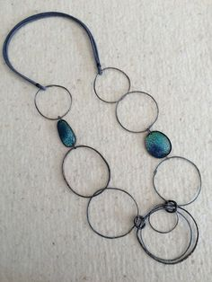 Irregular Circles Necklace in Blue  - Oxidized and Enameled Copper, Oxidized Silver and Leather by Montserrat Lacomba by mardecoLorrosa on Etsy