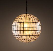 Like the look of this but too dim -- only one bulb.  Need more.  Find similar? Capiz Shell Pendant Medium