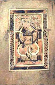 Le LIVRE DE DEER, miniature représentant Zacharie (?). It is noted for containing the earliest surviving Gaelic writing from Scotland. -1) Le Livre de Deer est un manuscrit enluminé contenant une partie des Evangiles. Dimensions (H + l) 15,7 + 10,8cm. 86 folios reliés. Daté ente le milieu du 9°s et le milieu du 10°s (v 850-950) avec des ajouts au début du 12°s, il est réputé pour être le plus ancien manuscrit provenant d'Ecosse de manière attestée et le seul datant d'avant l'ére normande.