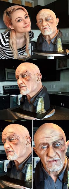 American cake artist Natalie Sideserf' Mike Ehrmantraut cake draped in vanilla and chocolate is a realistic replica of the famous actor. Crazy Cakes, Fancy Cakes, Cute Cakes, Yummy Cakes, Texas Cake House, Modeling Chocolate Figures, Realistic Cakes, 30 Cake, Cake Show