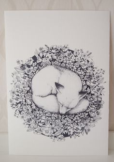 This is a terribly cute print, available at Swedish artist Linn Warme's Etsy store. And look, although it's monochrome, there is a hint of spring: the sleeping fox is surrounded by tiny flowers.