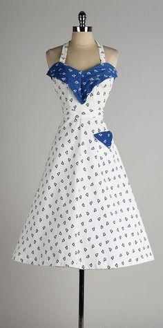vintage 1940s 2 piece dress . blue cotton . by millstreetvintage