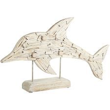 Our washed-wood dolphin is poised to dive back in for another adventure in the sea. Hand-painted with a weathered, rustic finish, it's posed on a wooden base. Add this splash of the sea to your study or family room. Sculpture Art, Sculptures, Zen, San Diego Living, Golf Shop, Beach Room, Florida Home, Beach Themes, Coastal Decor
