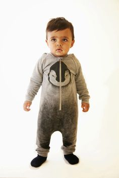 Baby jumpsuit with penguin print by Popupshop for autumn/winter 2014 children's clothes collection