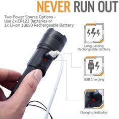 USB Rechargeable LED Flashlight w/ lanyard - INNOKA