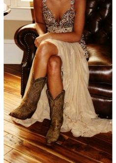 9ccdc78a0c91 Here are some really good prom dresses to wear with cowboy boots. Cute  dresses to wear with cowboy boots.