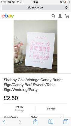 Sweets Vintage Candy Buffet, Candy Buffet Signs, Table Signs, Love Is Sweet, Main Colors, Shabby Chic, Sweets, Party, Good Stocking Stuffers
