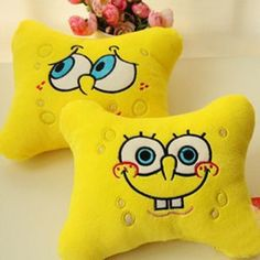 Super cute SpongeBob SquarePants plush toys Car pillow neck pillow automotive supplies Two different expression 2pcs/set