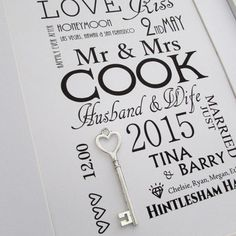 #wedding #anniversary #gift #bride #groom Personalised Wedding Day Art Gift. Featuring Lucky Silver Key.