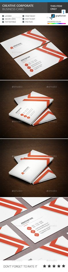 Creative Corporate Business Card Template PSD #visitcard #design Download: http://graphicriver.net/item/creative-corporate-business-card/13299928?ref=ksioks
