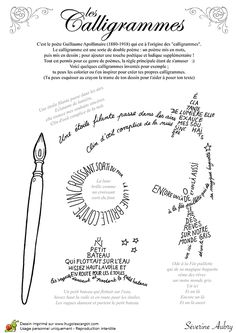 Coloring of a children's calligram by Séverine Aubry Learning French For Kids, Teaching French, Typography Love, Lettering, French Flashcards, Poetry Activities, Poesia Visual, Core French, Ap French