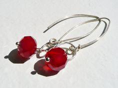 Blood Drop Wire Wrapped Earrings