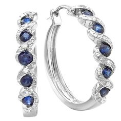 Sterling Silver White Round Diamond & Blue Sapphire Hoop Earrings