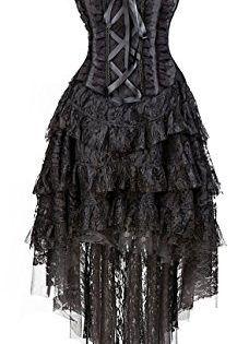 Kimring Women's Vintage Burlesque Saloon Girl Corset Dress Halloween Cancan Dancer Showgirl Moulin Rouge Costume Black X-Large This vintage burlesque