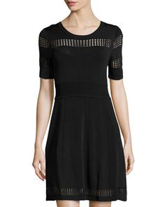 Half-Sleeve Knit Dress, Black by Ali Ro at Neiman Marcus Last Call.