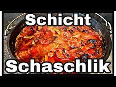 Schicht Schaschlik Topf aus dem Dutch Oven - YouTube Bbq, Paella, Steak, Grilling, Curry, Chicken, Ethnic Recipes, Videos, Food