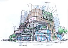 Retail planning, retail facade, mixed-use project, sketch, randy carizo Shopping Mall Architecture, Retail Architecture, Building Architecture, Mall Facade, Retail Facade, Building Sketch, Building Concept, Mall Design, Tower Design