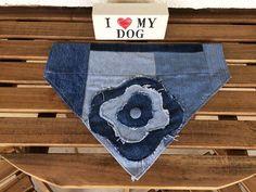 Handmade Recycled Denim Jean Dog Bandana Upcycled by MissyODesign
