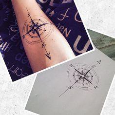 Compass design for @jamescourt94 amazingly tattoed by @daz_crane!