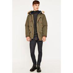 Farah Aylsham Green Parka (£100) ❤ liked on Polyvore featuring mens, men's clothing, men's outerwear, men's coats and khaki