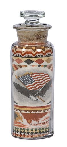 Andrew Clemens of McGregor, Iowa was a deaf mute artist who created bottled images made from individual grains of colored sand without using any glue. These bottled works of art have survived intact for more than 100 years. Sand Painting, Sand Art, Mcgregor Iowa, Building Sand, Colored Sand, Seashell Art, Homemade Tools, Patriotic Decorations, American Pride