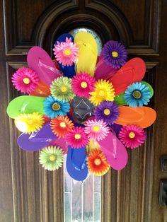 Flip Flop Wreath Welcome Wreath Summer Wreath By