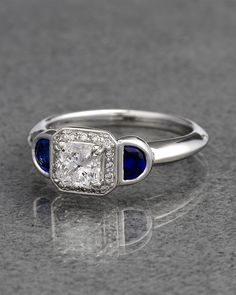 Ritani Platinum 1.15 cttw. Diamond & Sapphire Ring - explore the art deco collection http://www.ritani.com/engagement-rings/style/art-deco-engagement-rings