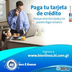 ¡Paga tu tarjeta de crédito fácil y rápido desde tu computadora con Bi En Línea! #BiEnLinea #BancaModerna #ProductosYServicios #BancoIndustrial