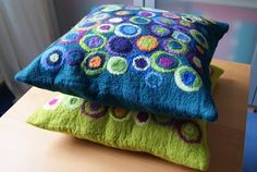 These fun and colorful pillows can be felted in an afternoon.