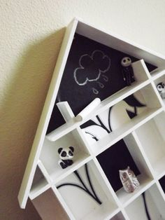 black and white showcase  with blackboard di GabLabmadeinItaly, showcase# blackboard showcase# black & white# home decor# wall hanging