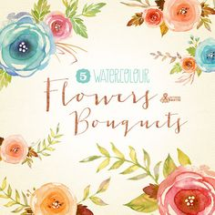 This set of 5 high quality hand painted watercolor floral bouquets. Perfect graphic for wedding invitations, greeting cards and more.  This listing
