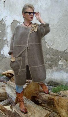 Купить Пальто вязаное авторское - коричневый, пальто женское, пальто…