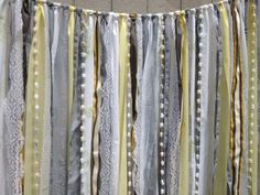 Grey Yellow Fabric Garland Wedding Backdrop - Vintage Flair - Curtain - Nursery, Teen Room,  Wedding Decor - 4 ft x 6 ft Doing this for the bathroom.Cant find a curtain to match so I'll make one :P