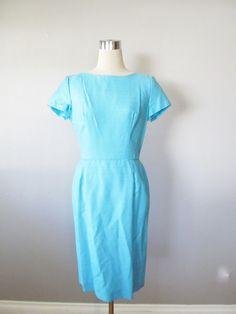 Vintage 1950's Aqua Blue Wiggle Dress / Formal by JLVintage