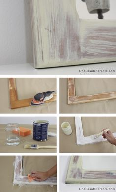 How to paint aged white patina wood Hand Painted Furniture, Recycled Furniture, Paint Furniture, Furniture Sale, Furniture Decor, Furniture Design, Cheap Furniture Makeover, Pallet Frames, Diy Wood Stain