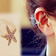Fashion Vintage Shiny Full Rhinestone Starfish Clip Earrings Gold Plated & Silver Plated Ear Cuff 1Pcs/Price FE842-in Clip Earrings from Jewelry on Aliexpress.com | Alibaba Group