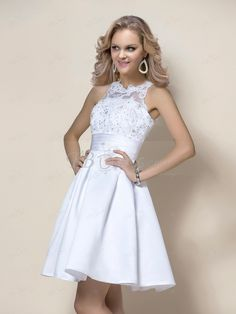Stunning Short/Mini Beading Appliques  High-Neck  Cocktail/Homecoming Dress