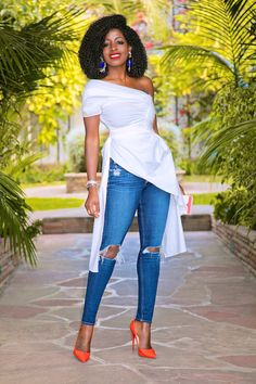 Style Pantry | Draped One Shoulder Top + Knee Ripped Jeans