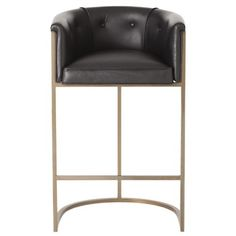 Calvin Barstool in Black Leather by Arteriors. *Arteriors collaborates with expert artisans and manufacturers from around the world.