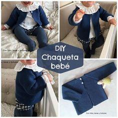 Tutorial que muestra el paso a paso para tejer una chaqueta de bebé a dos agujas o con agujas circulares.