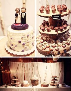 purple buttons + cake table