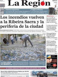 Los Titulares y Portadas de Noticias Destacadas Españolas del 27 de Agosto de 2013 del Diario La Región ¿Que le pareció esta Portada de este Diario Español?