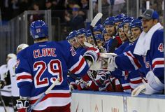 April 3 - Ryane Clowe spent eight seasons with the San Jose Sharks but he got plenty of practice giving pounds to his new Rangers teammates in his debut.  Here Martin Biron appears especially excited to show Clowe some love after his second goal of the game.